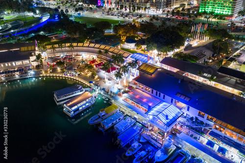 Neon Miami lights Bayside Marketplace aerial night photo