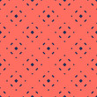 Simple minimalist floral texture. Geometric seamless pattern with small flower silhouettes, crosses, dots. Vector abstract background in trendy bright colors, dark blue and coral. Minimal design