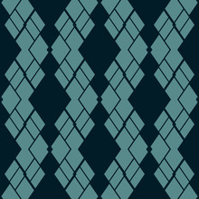 Argyle Pattern. Vector Abstract Geometric Seamless Texture. Black And Teal Ornamental Texture With Rhombuses, Diamonds, Rectangles, Grid, Mesh, Net, Lattice. Simple Dark Background. Repeated Design