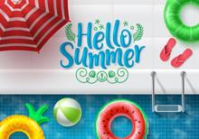 Hello Summer Vector Banner Des...