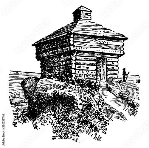 Photo Blockhouse, vintage illustration.