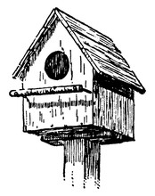 Birdhouse, Vintage Illustration.