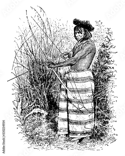 An Indian, vintage illustration. Tapéta, Fotótapéta