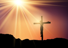Silhouette Of Jesus On The Cro...