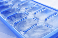 Ice In A Blue Ice Cube Tray