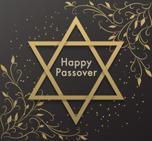 Premium Happy Passover Jewish Lettering. Abstract Vector Background With The Star Of David. Spring Gold Floral Illustration