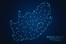 Abstract Mash Line And Point Scales On Dark Background With Map Of South Africa. Wire Frame 3D Mesh Polygonal Network Line, Design Sphere, Dot And Structure. Vector Illustration Eps 10.