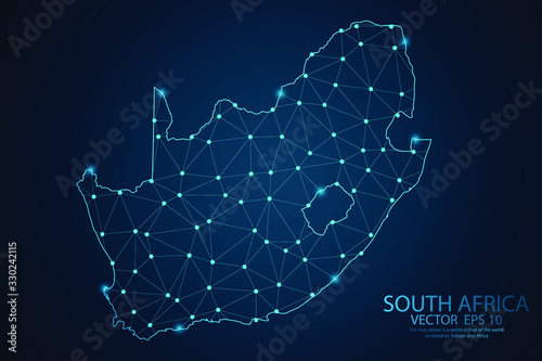 Fototapeta Abstract mash line and point scales on dark background with map of South africa