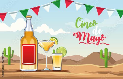 Fotografiet cinco de mayo celebration with tequila drink desert scene