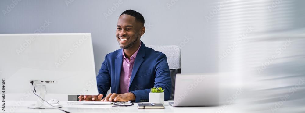 Fototapeta African Businessman Banner
