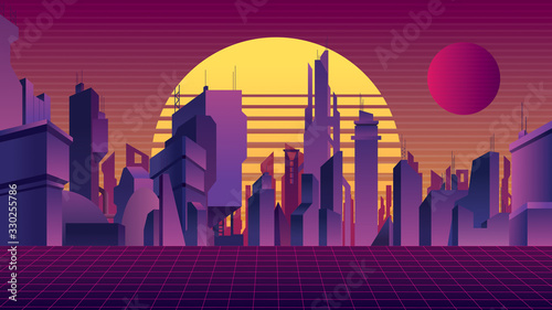 Obraz Synthwave City Background - fototapety do salonu
