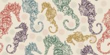 Sea Horse. Seamless Pattern. P...