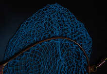 Net For Catching Blue And Red, White And Black Background, Black And Blue Net
