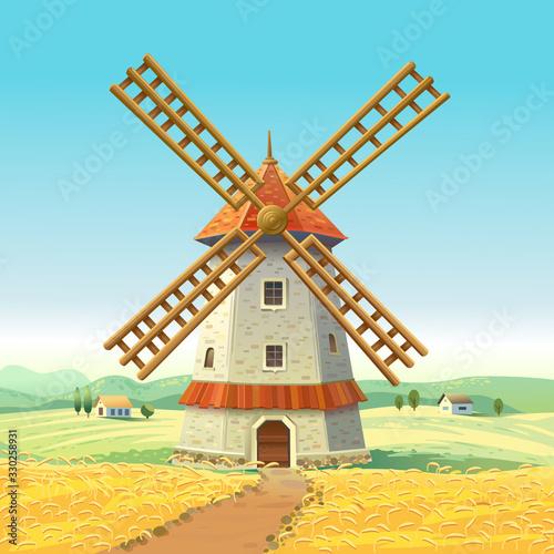 Obraz na płótnie Mill on a sunny field