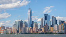 New York, NY, USA. Amazing Skyline Of Manhattan Skyscrapers And Buildings From Ellis Island. Landscape Inclusive Of The Freedom Tower - One World Trade Center