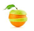 Green apple orange slices fruit stack. Colorful healthy vegetarian vitamin diet concept. Creative fun apple orange citrus fruit. Mixed fruits for juice isolated on white