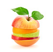 Green apple orange slices fruit stack. Colorful healthy vegetarian vitamin diet concept. Creative fun apple orange citrus fruit. Various mixed fruits for juice isolated on white
