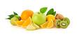 Fresh green apple, orange fruit, healthy diet concept. Raw mixed vegan juicy fruity background isolated on white. Citrus orange, lemon, apple, kiwi fruit, detox clean eating meal