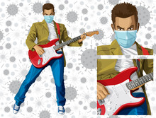 Man With The Guitar And Mask O...
