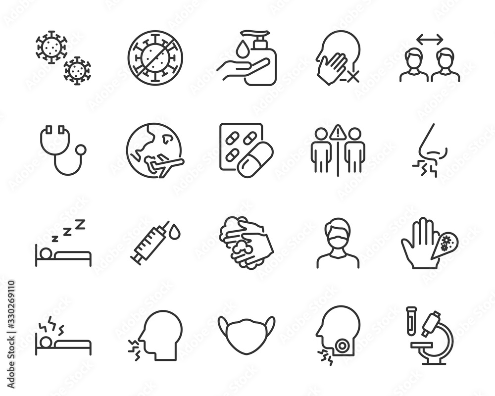 Fototapeta set of coronavirus icons, virus, ncov-2019, disease, sickness, illness