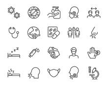 Set Of Coronavirus Icons, Viru...