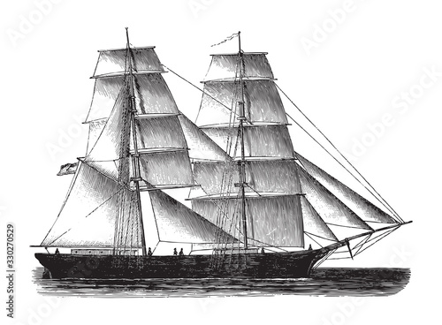 Old sailing ship - Brig / vintage illustration from Brockhaus Konversations-Lexi Tapéta, Fotótapéta