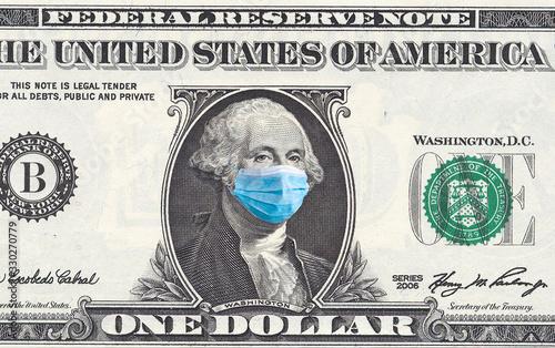 Fototapeta Coronavirus Wuhan. US quarantine, 1 dollar banknote with medical mask. The concept of epidemic and protection against coronavrius. obraz