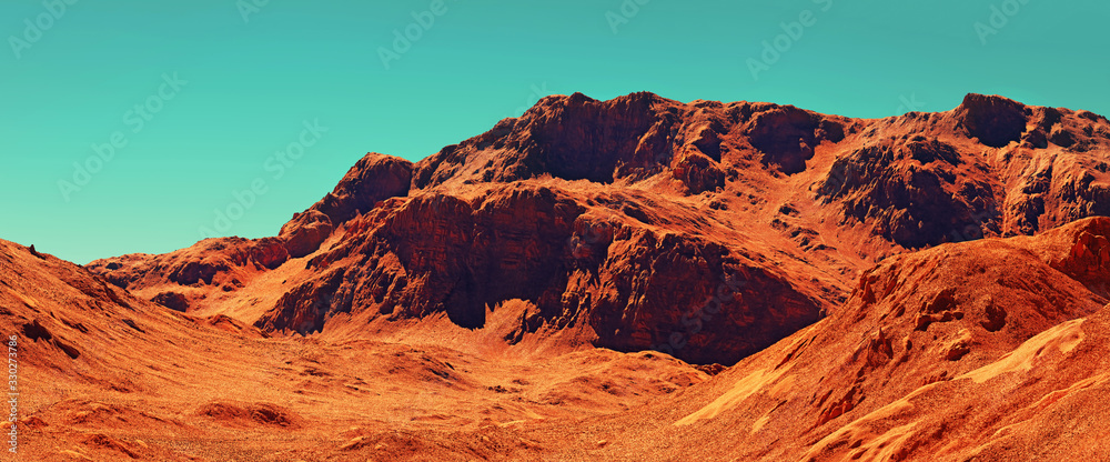 Fototapeta Mars landscape, 3d render of imaginary mars planet terrain, science fiction illustration.