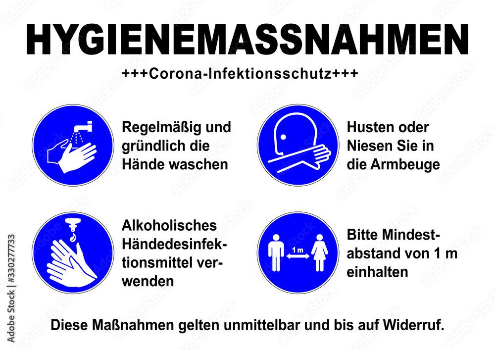 Fototapeta ds34 DiskretionSchild - german sign: Hygienemassnahmen / Corona Infektionsschutz - Gebotszeichen: Desinfektionssymbol - Abstand halten - Armbeuge - Hände waschen / desinfizieren. DIN A1 A2 A3 A4 g9242