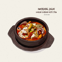 Korea's Representative Food,Soybean Paste Stew(doenjang Jjigae) , Hand Draw Sketch Vector.