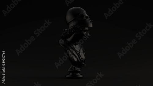 Fotografia Black Minerva Bust Sculpture Black Background 3d illustration 3d render