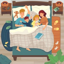 Children Sleep In Parents Bed. Co-sleeping With Child. Dad, Mom And Kids Sleep Together, Asleep Young Boy And Girl Vector Illustration. Family Sleep Together In Bed, Mother And Father With Kids