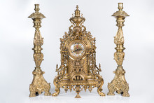 Vintage Gold Watch With Candelabra On White Background, Bronze Clock And Candelabra, Gold Candlesticks And Clock, Antique Clock And Candlesticks, Vintage Clock With Chandeliers On A White Background