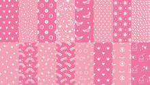 Cute Pink Seamless Patterns. Hand Drawn Hearts, Stars Pattern For Little Baby Girl And Dots Texture For Fabric Print Vector Set. Seamless Background Pattern, Baby Fabric, Girly Pastel Illustration