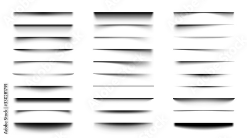 Realistic shadows. Overlay and transparency shadow effect template, box or paper page shadow with soft edges vector set. Transparent effect decoration, edge and shade divider illustration