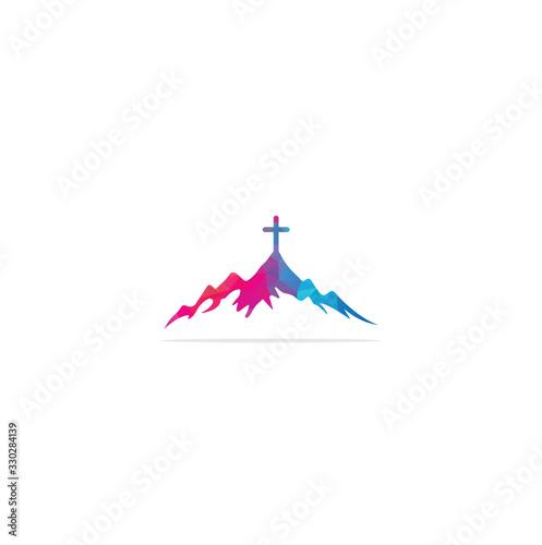 Fototapeta church logo designs with mountain, minimalist logo. People church vector logo design template. Church and Christian organization logo. obraz