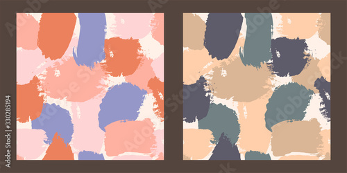 set of two seamless pattern with brush strokes of different colors Wallpaper Mural