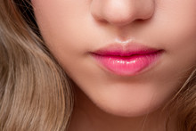 Beautiful Natural Lips With A Pink Tinge. Lip Balm And Lipstick,