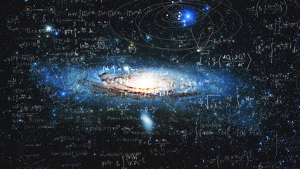Science and research of the universe, spiral galaxy and physical formulas, concept of knowledge and education