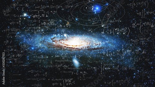 Photo Science and research of the universe, spiral galaxy and physical formulas, conce