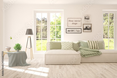 Obraz Minimalist living room in white color with sofa and summer landscape in window. Scandinavian interior design. 3D illustration - fototapety do salonu