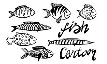 Vector Hand Drawn Doodle Fish Icon. Logo Design Template. Cute Hand Drawn Childish Linear Illustration For Print, Web