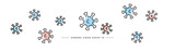 Corona virus line design colorful viruses draw white isolated background banner