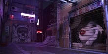Bright Neon Night In A Cyberpunk City Of A Future. Photorealistic 3d Illustration Of The Futuristic City. Empty Street With Blue Neon Lights.
