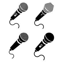 Retro Microphone Icon Isolated...