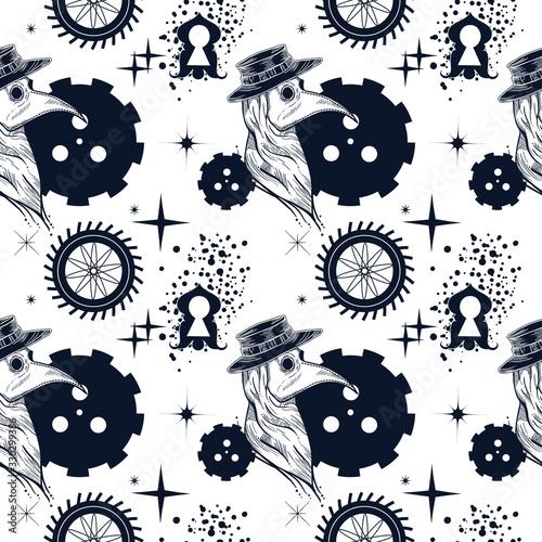 Fotografie, Obraz Steampunk seamless pattern with plague doctor, mechanism, cogwheels