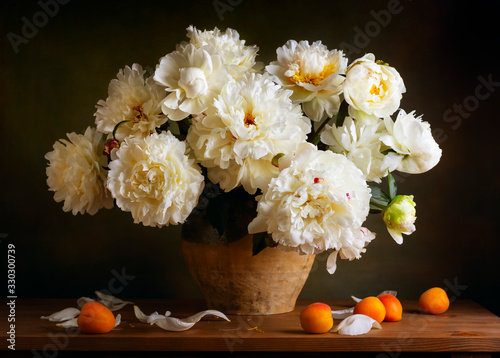 Fototapeta Still life with peonies and apricots obraz