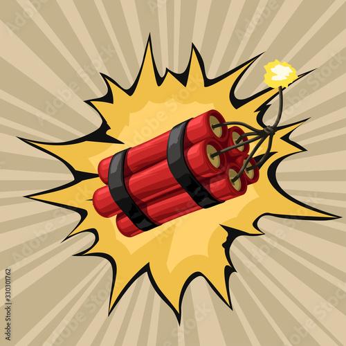 cartoon red dynamite firing wire Tablou Canvas