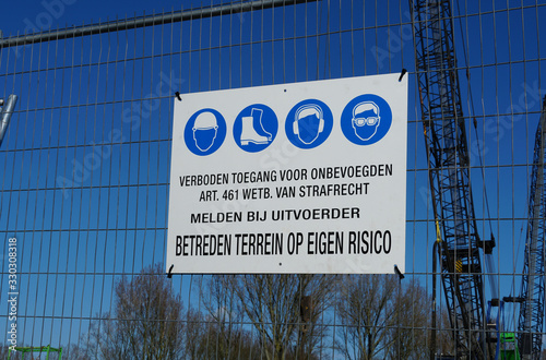 Entrance sign on a construction site in the Netherlands Wallpaper Mural