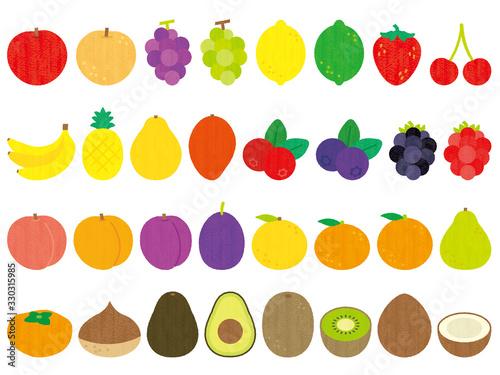 手描き風かわいいフルーツセット-Fruits set